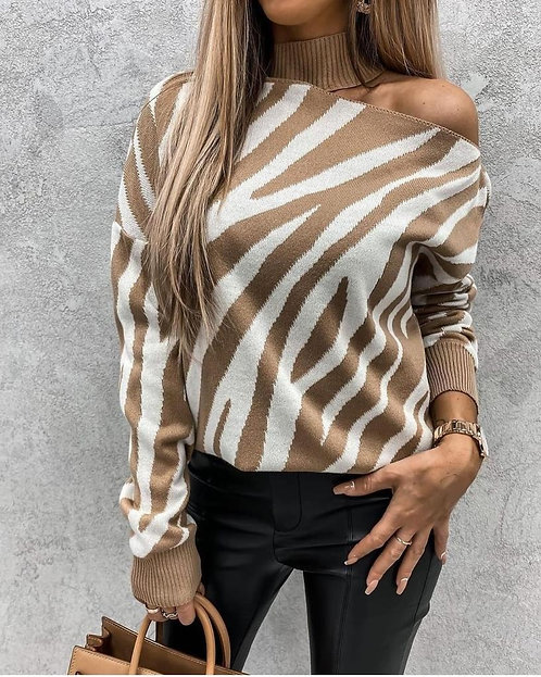 Zebra Desen Tek Omuz Bluz - Krem