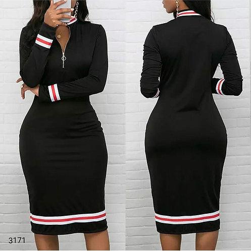 Şerit Detaylı Fermuarlı Elbise - Siyah