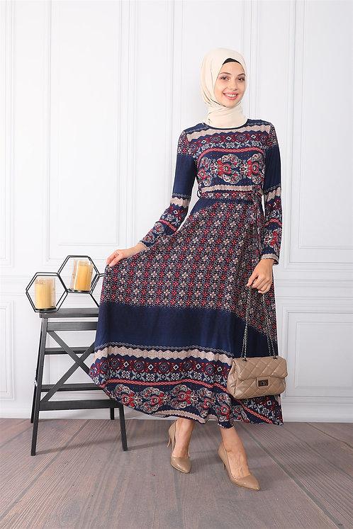 Etnik Desenli Elbise - Lacivert Bordo