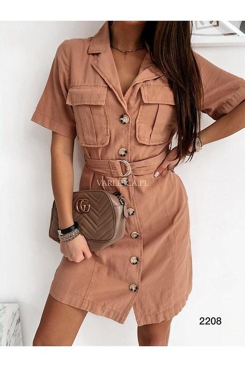Kemer Aksesuarlı Cepli Gömlek Elbise - Kiremit