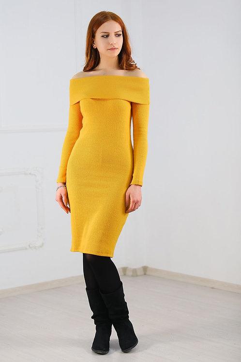 Degaje Yaka Kaşkorse Elbise - Sarı