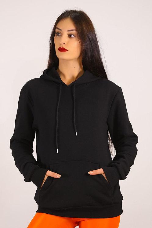 Kapüşonlu İçi Tüylü Baskılı Sweatshirt - Siyah