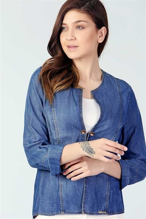 Broş Detaylı Bluz - Lacivert
