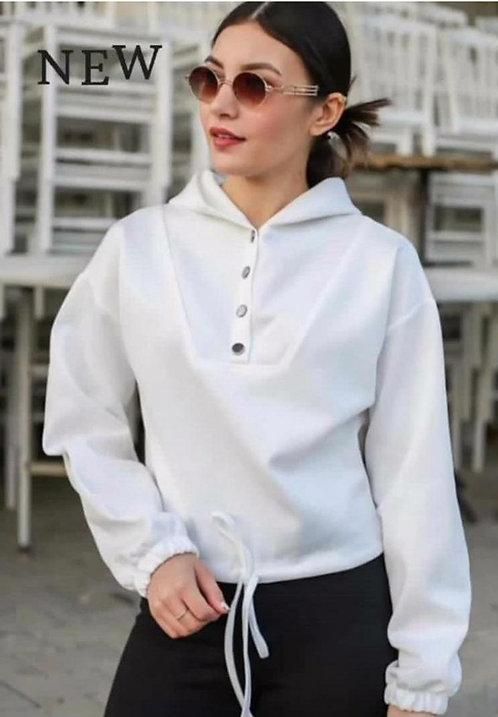 Scuba Düğmeli Sweatshirt - Beyaz