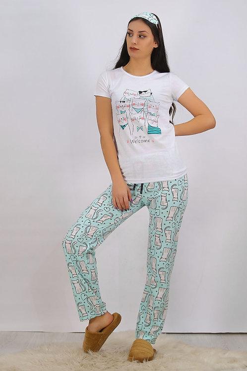 Baskılı Pijama Takımı - Beyaz
