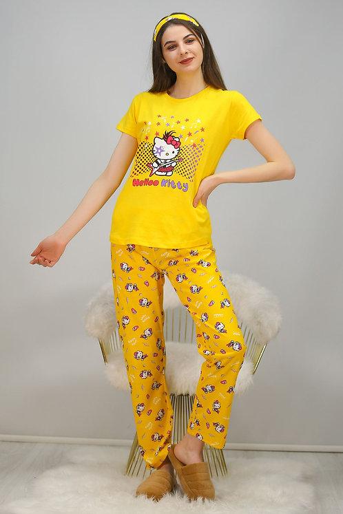 Baskılı Pijama Takımı - Sarı