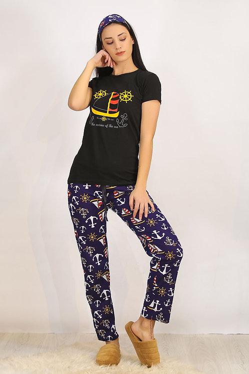 Baskılı Pijama Takımı - Siyah