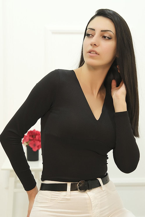 Göğüs Büzgülü V Yaka Bluz- Siyah