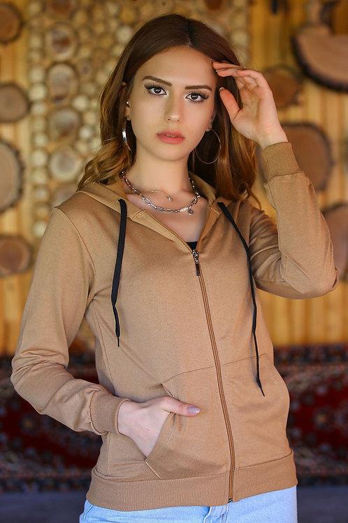 Kapüşonlu Fermuarlı Sweatshirt - Camel