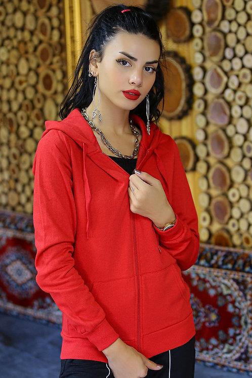 Kapüşonlu Fermuarlı İçi Tüylü Sweatshirt - Kırmızı