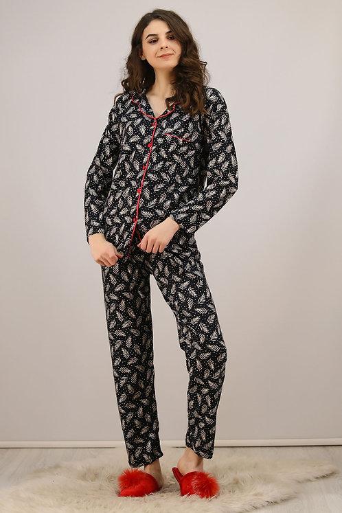 Kadife Pijama Takımı - Yaprak Desenli Siyah