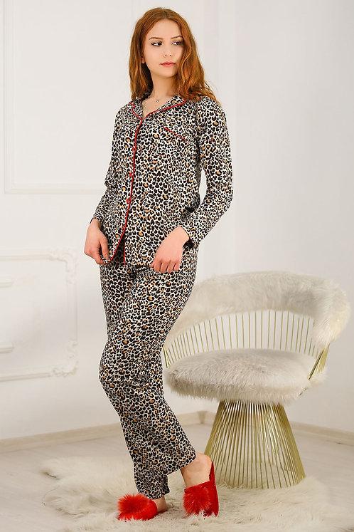 Kadife Açık Leopar Desenli Pijama Takımı