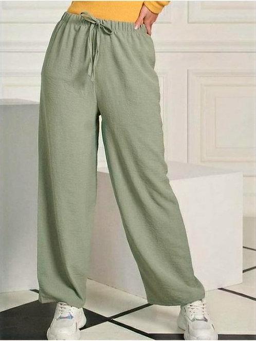Beli Lastikli Bol Kesim Aerobin Pantolon - Su Yeşili