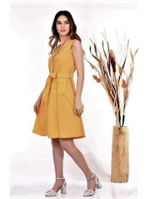 Kuşaklı Cepli Midi Elbise - Sarı