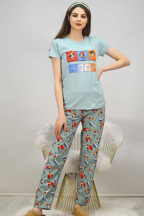 Baskılı Pijama Takımı - Su Yeşili
