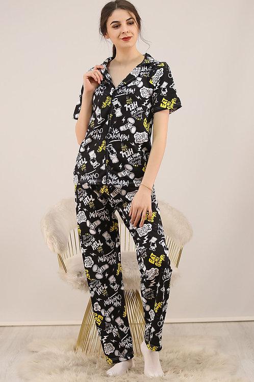 Düğmeli Penye Pijama Takımı - Siyah
