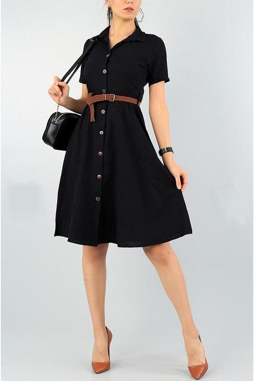 Kemerli Düğmeli Aerobin Elbise - Siyah