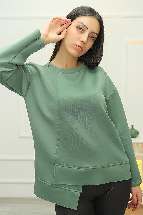 Dalgıç Asimetrik Sweatshirt - Yeşil