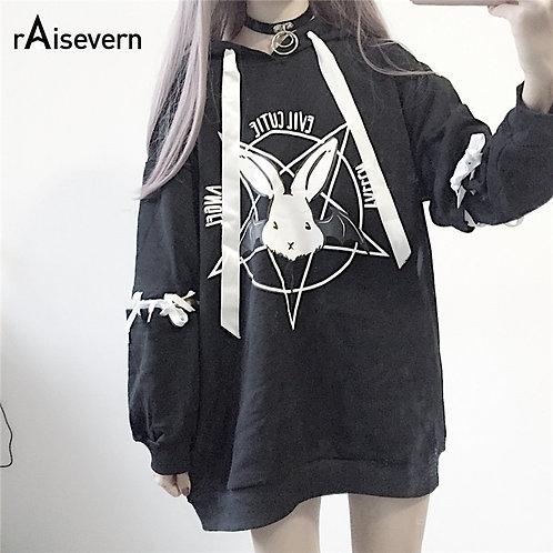 Kapüşonlu Oversize Gotik Desen Sweatshirt - 2 Renk