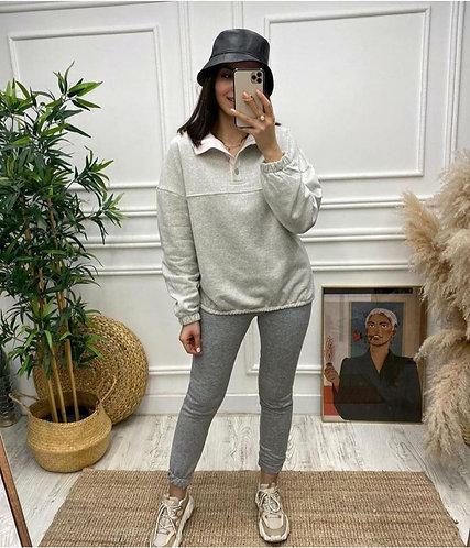 Dik Yaka Uzun Kol Sweatshirt - 2 Renk