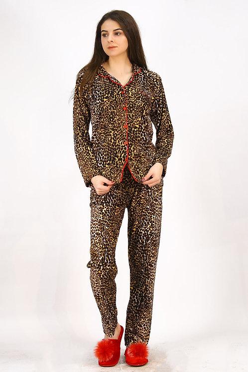 Kadife Koyu Leopar Desenli Pijama Takımı