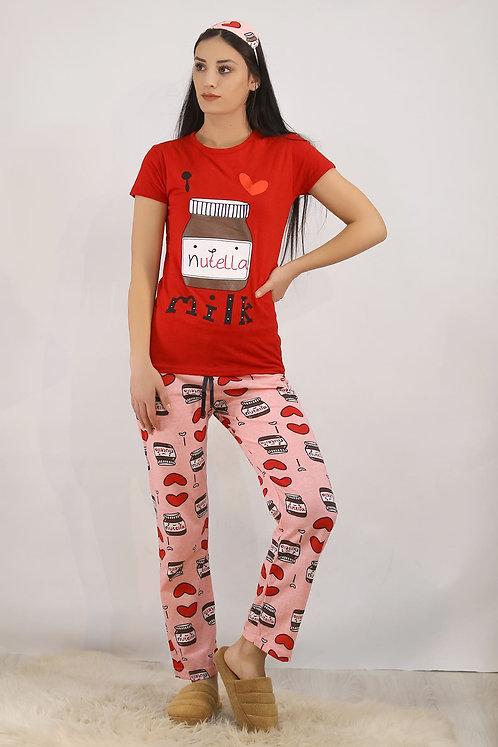 Baskılı Pijama Takımı - Kırmızı