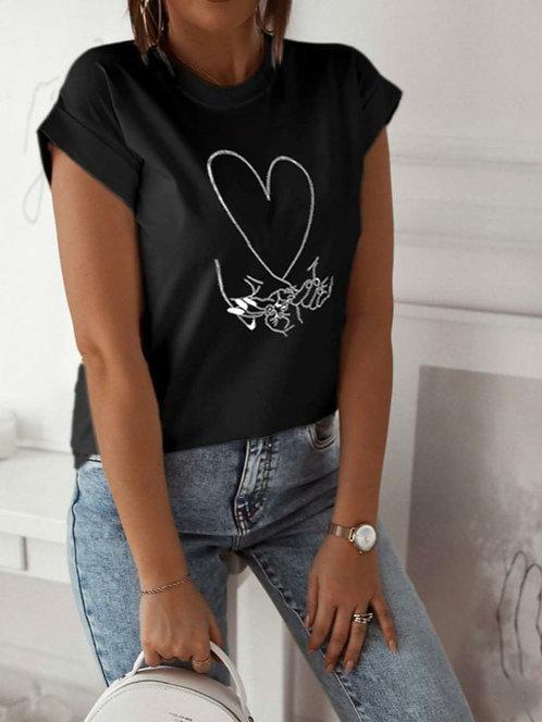 Kalp Baskılı T-Shirt - 3 Renk