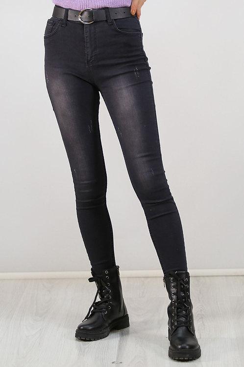 Destroyed Skinny Strech Jeans - Mid Black