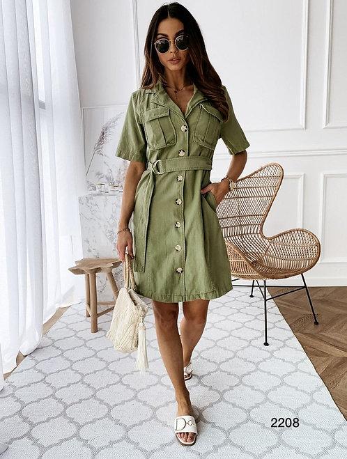 Kemer Aksesuarlı Cepli Gömlek Elbise - Yeşil