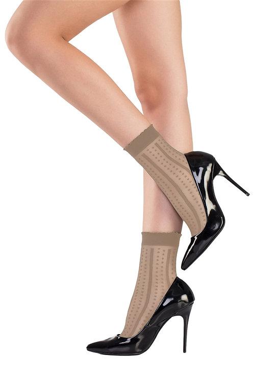 Mite Love Soket Çorap Nokta Desenli Bronz