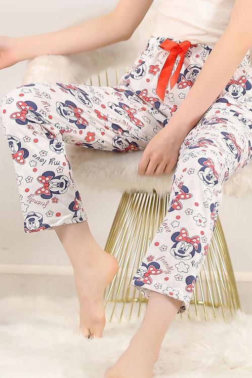 Desenli Pijama Altı Beyaz