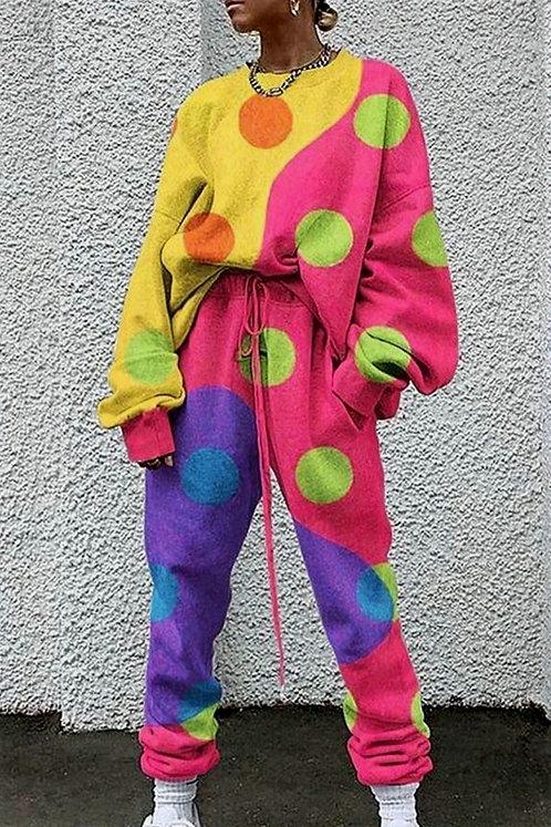 Puanlı Multi Renk Desen Takım