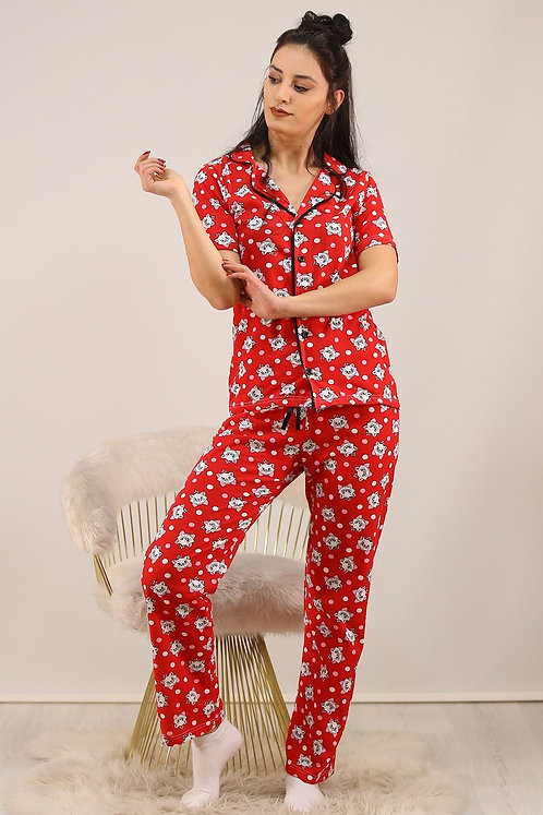 Düğmeli Penye Pijama Takımı - Kırmızı