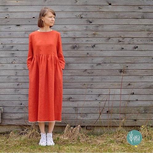 Uzun Kollu Ayrobin Elbise - Oranj