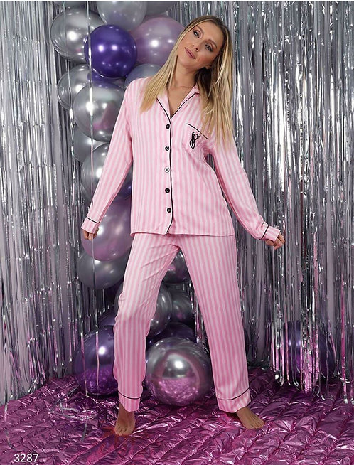 Çizgili Pijama Takım - Pembe