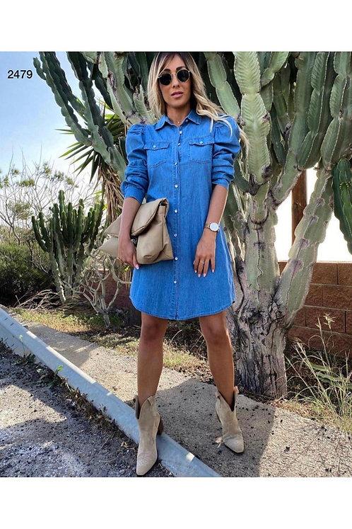 Karpuz Kol Denim Elbise - Mid blue