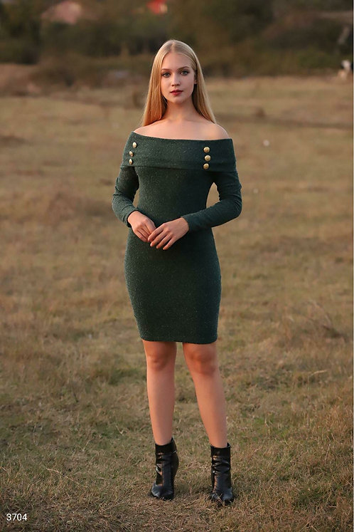 Düğme Detay Maddona Elbise - Haki