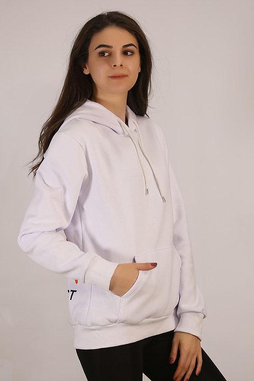 Kapüşonlu İçi Tüylü Baskılı Sweatshirt - Beyaz