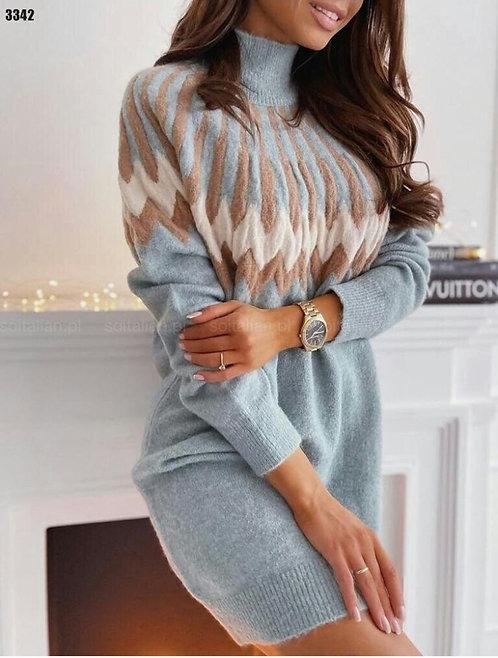 Otantik Desen Boğazlı Kazak Elbise