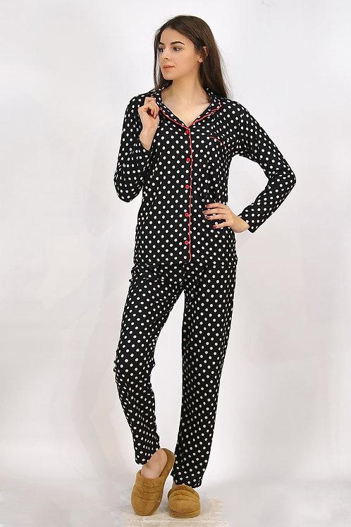 Kadife Puantiyeli Pijama Takımı
