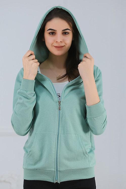 Kapüşonlu Fermuarlı Sweatshirt - Mint
