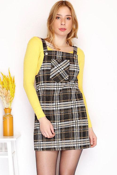 Salopet Kareli Elbise - Siyah Sarı