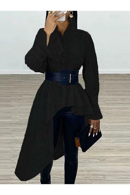 Asimetrik Kemerli Gömlek Elbise - Siyah