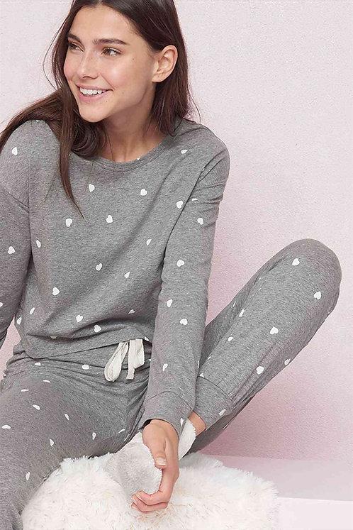 Kalpli Pijama Takım - Gri