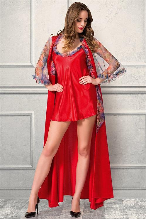 Mite Love Uzun Gecelik Sabahlık Saten Kırmızı Takım