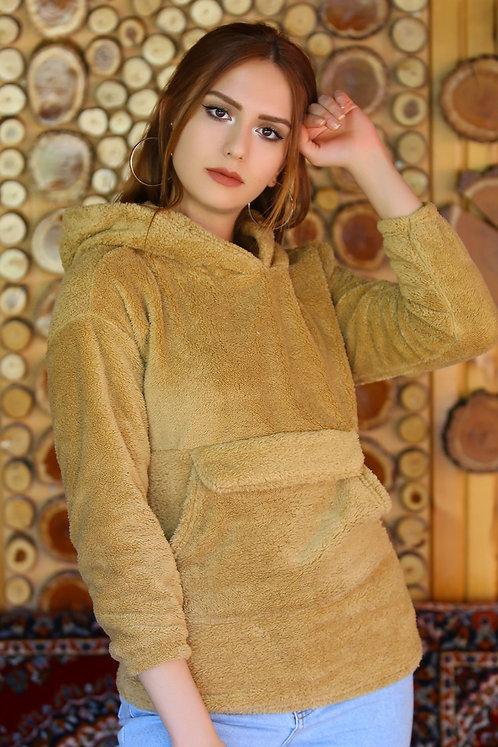 Kapüşonlu Fermuarlı Peluş Sweatshirt - Camel