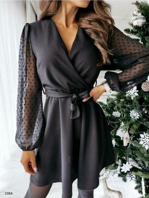 Kol Puanlı Elbise - Siyah
