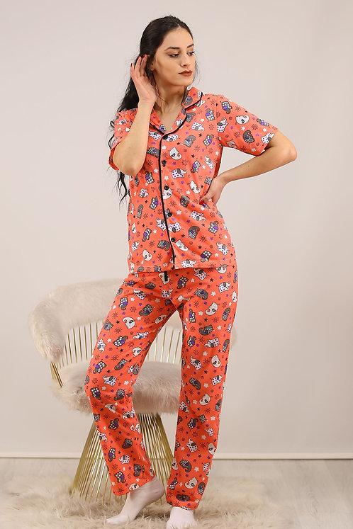 Düğmeli Penye Pijama Takımı - Turuncu