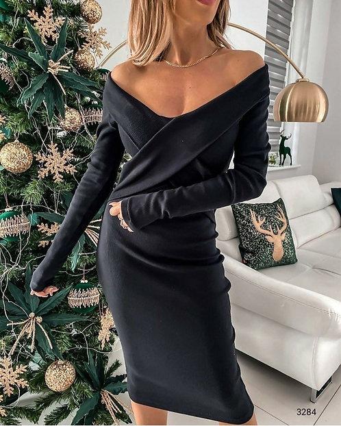 Çapraz Kaşkorse Elbise - Siyah