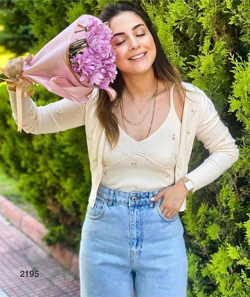 Crop Bluzlu Mevsimlik Hırka İkili Set - İki Renk